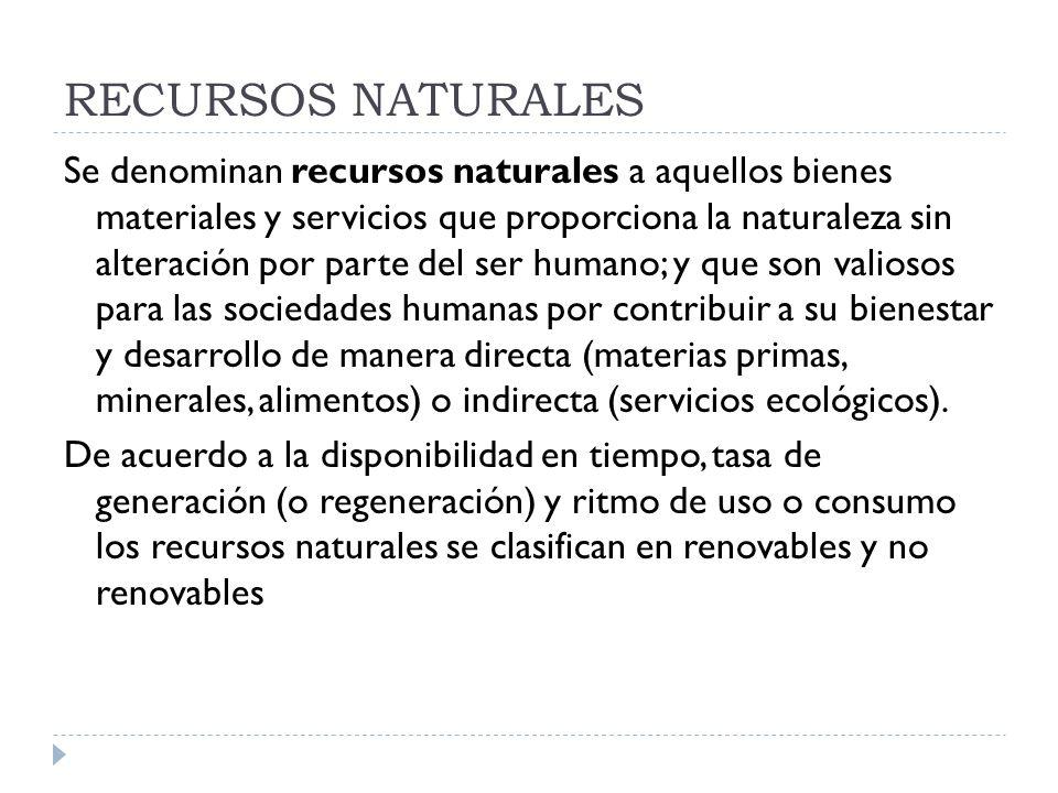 RECURSOS NATURALES Se denominan recursos naturales a aquellos bienes materiales y servicios que proporciona la naturaleza sin alteración por parte del