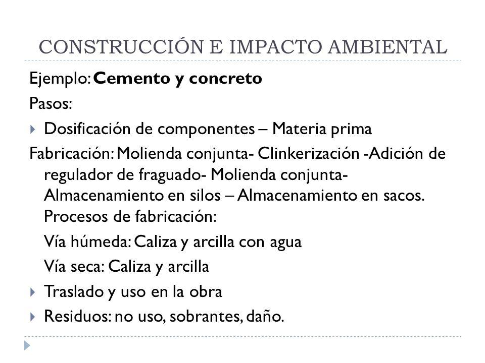 CONSTRUCCIÓN E IMPACTO AMBIENTAL Ejemplo: Cemento y concreto Pasos: Dosificación de componentes – Materia prima Fabricación: Molienda conjunta- Clinke