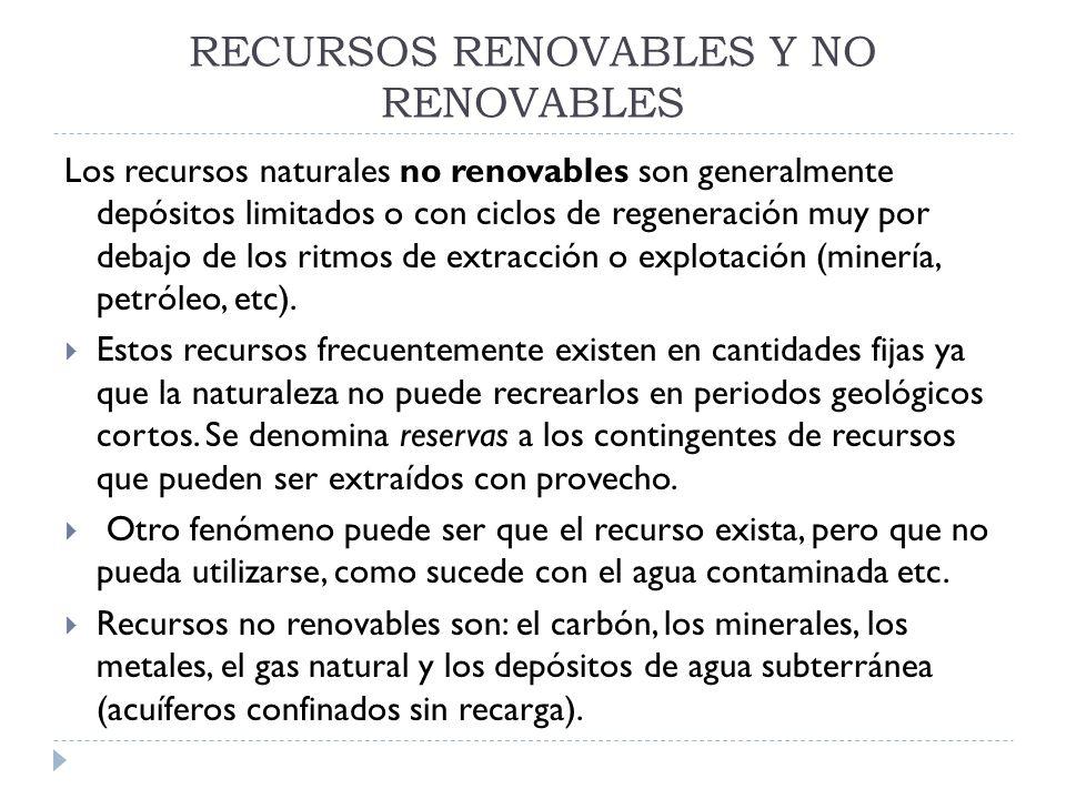 RECURSOS RENOVABLES Y NO RENOVABLES Los recursos naturales no renovables son generalmente depósitos limitados o con ciclos de regeneración muy por deb