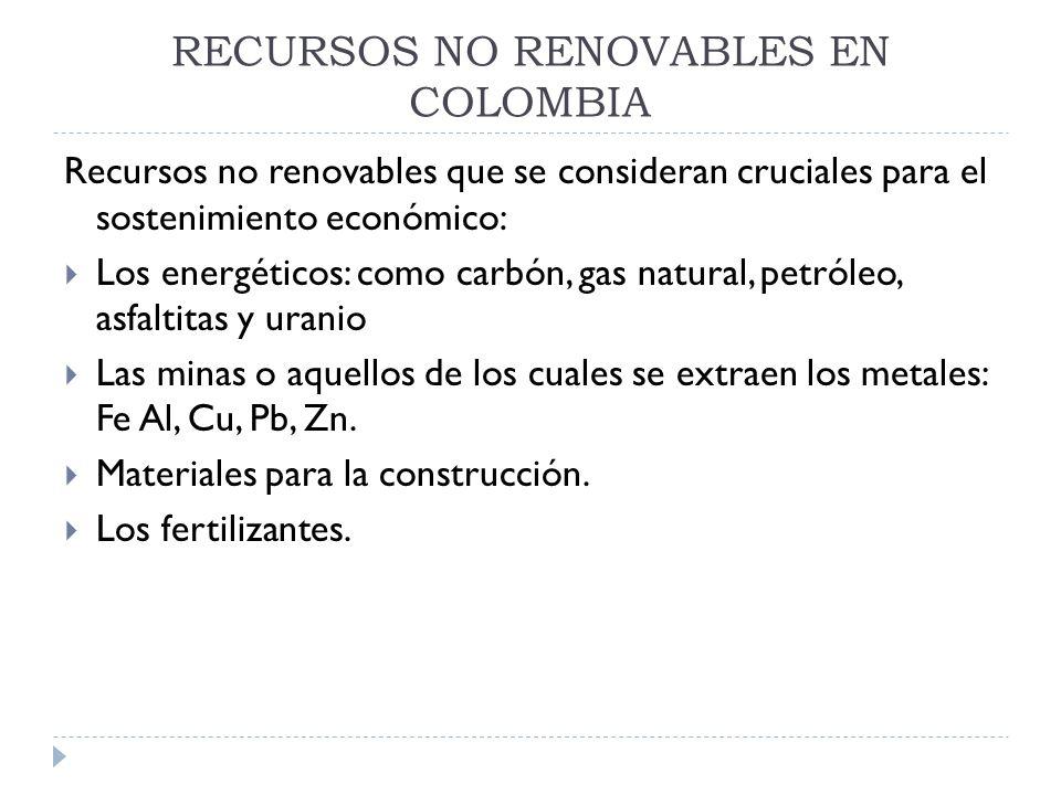 RECURSOS NO RENOVABLES EN COLOMBIA Recursos no renovables que se consideran cruciales para el sostenimiento económico: Los energéticos: como carbón, g