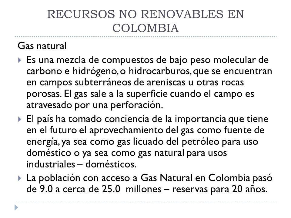 RECURSOS NO RENOVABLES EN COLOMBIA Petróleo Es un líquido aceitoso e inflamable que contiene como compuestos orgánicos: hidrógeno11 al 15%, carbono 83 a 87 %, y pequeñas cantidades de oxígeno, nitrógeno y azufre, entre los principales.