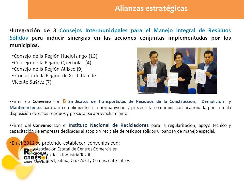 Alianzas estratégicas Integración de 3 Consejos Intermunicipales para el Manejo Integral de Residuos Sólidos para inducir sinergias en las acciones conjuntas implementadas por los municipios.