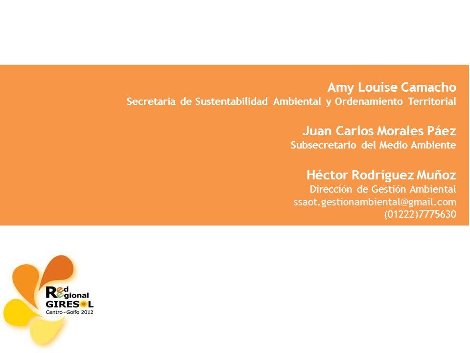 Amy Louise Camacho Secretaria de Sustentabilidad Ambiental y Ordenamiento Territorial Juan Carlos Morales Páez Subsecretario del Medio Ambiente Héctor