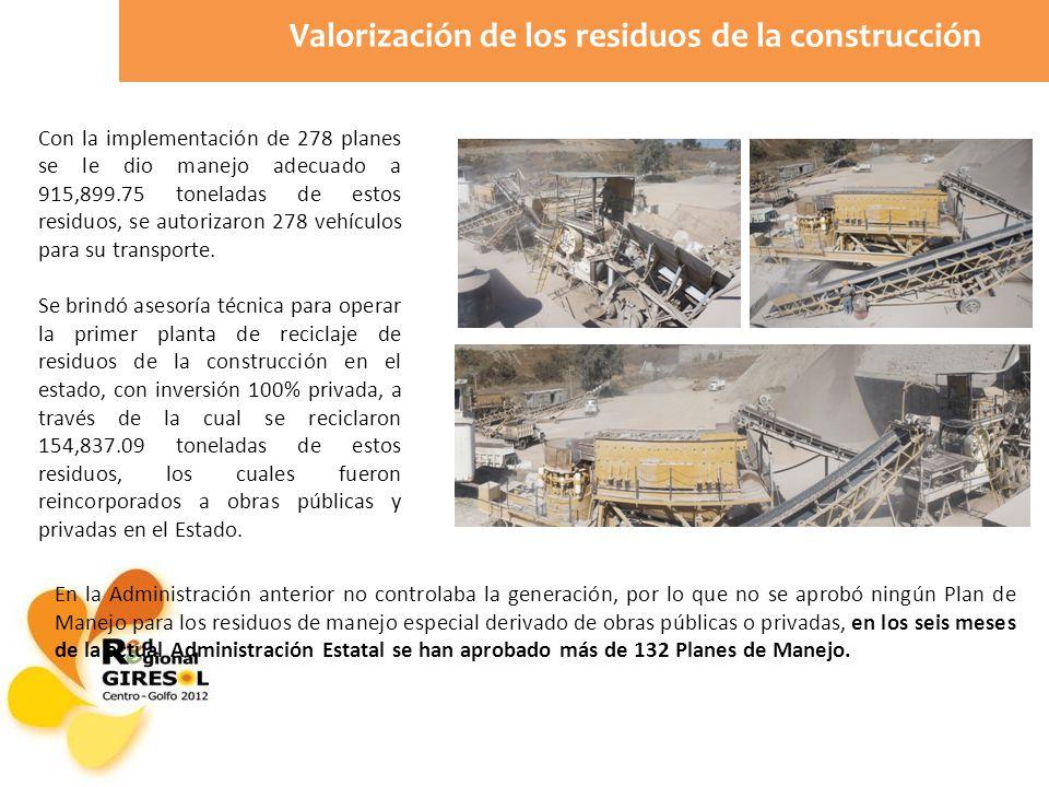 Con la implementación de 278 planes se le dio manejo adecuado a 915,899.75 toneladas de estos residuos, se autorizaron 278 vehículos para su transporte.