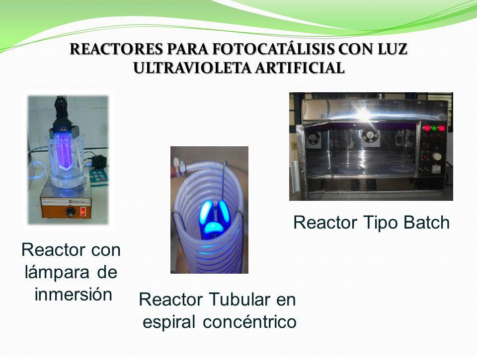 REACTORES PARA FOTOCATÁLISIS CON LUZ ULTRAVIOLETA ARTIFICIAL Reactor Tipo Batch Reactor Tubular en espiral concéntrico Reactor con lámpara de inmersión