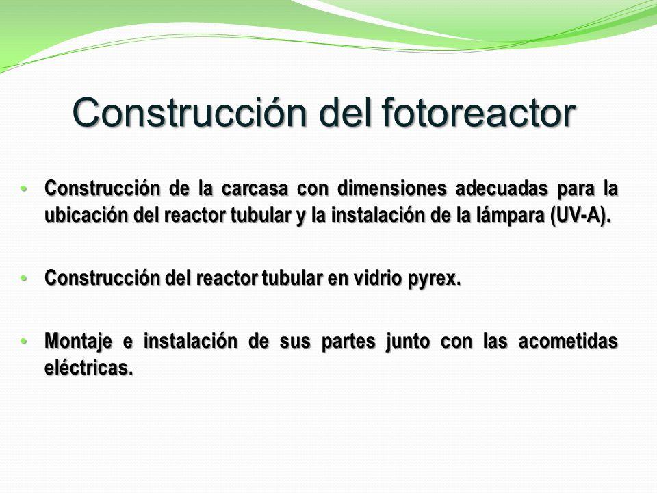 Construcción de la carcasa con dimensiones adecuadas para la ubicación del reactor tubular y la instalación de la lámpara (UV-A).
