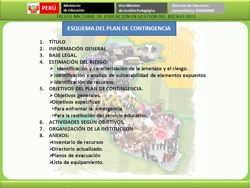 PERÚ Ministerio de Educación Vice Ministro de Gestión Pedagógica Dirección de Educación Comunitaria y Ambiental … … … … TALLER NACIONAL DE EDUCACIÓN E