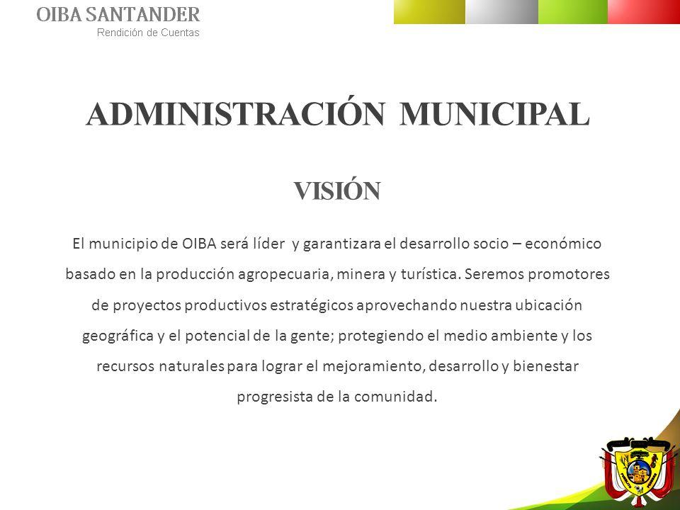 ADMINISTRACIÓN MUNICIPAL VISIÓN El municipio de OIBA será líder y garantizara el desarrollo socio – económico basado en la producción agropecuaria, mi