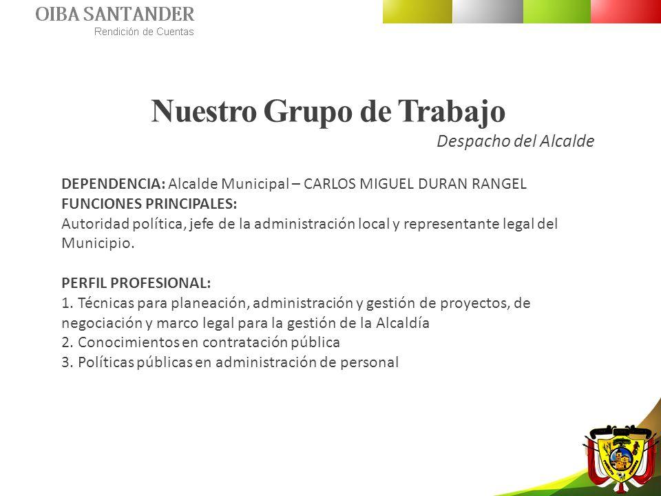 Nuestro Grupo de Trabajo Despacho del Alcalde DEPENDENCIA: Alcalde Municipal – CARLOS MIGUEL DURAN RANGEL FUNCIONES PRINCIPALES: Autoridad política, j