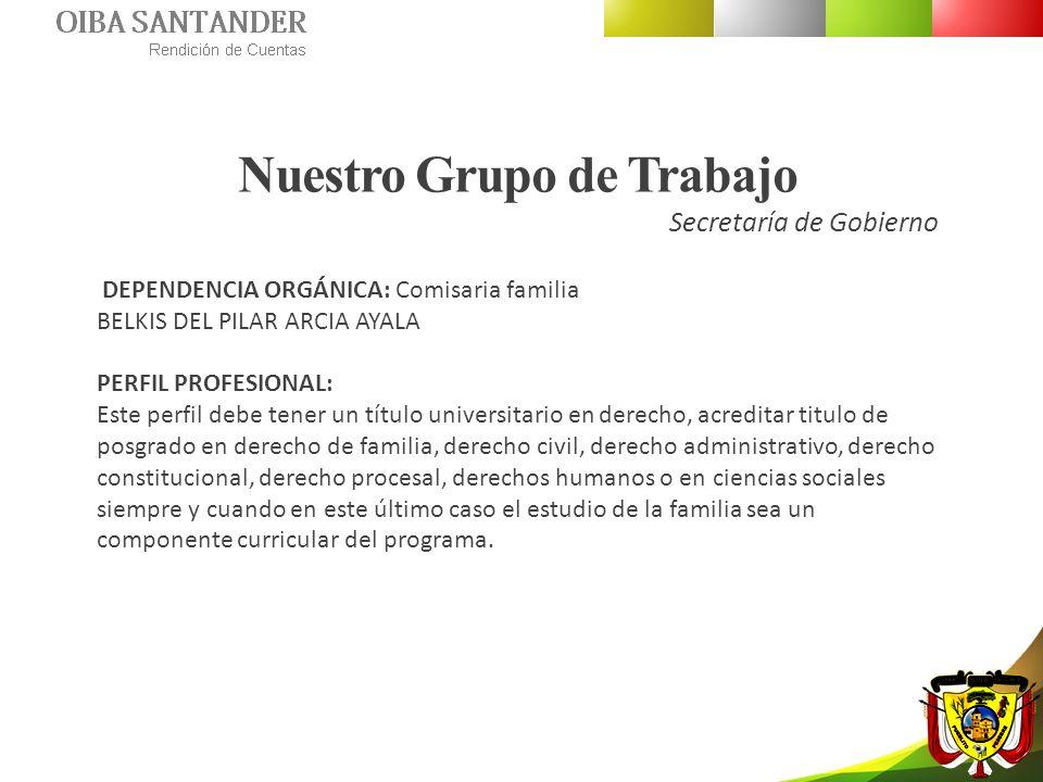Nuestro Grupo de Trabajo Secretaría de Gobierno DEPENDENCIA ORGÁNICA: Comisaria familia BELKIS DEL PILAR ARCIA AYALA PERFIL PROFESIONAL: Este perfil d