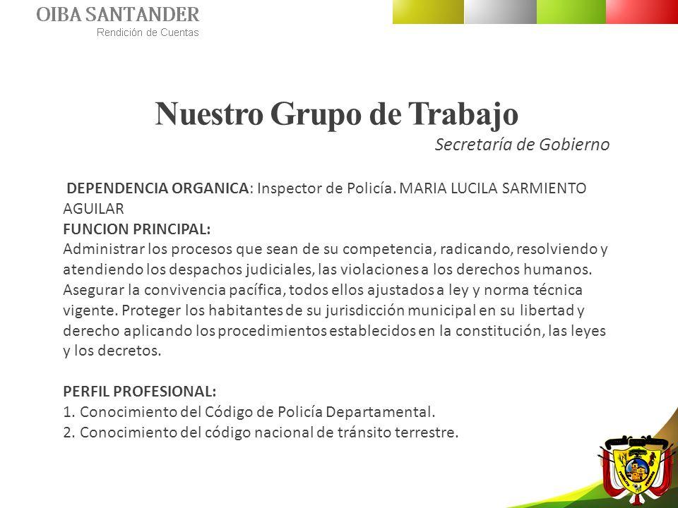 Nuestro Grupo de Trabajo Secretaría de Gobierno DEPENDENCIA ORGANICA: Inspector de Policía. MARIA LUCILA SARMIENTO AGUILAR FUNCION PRINCIPAL: Administ