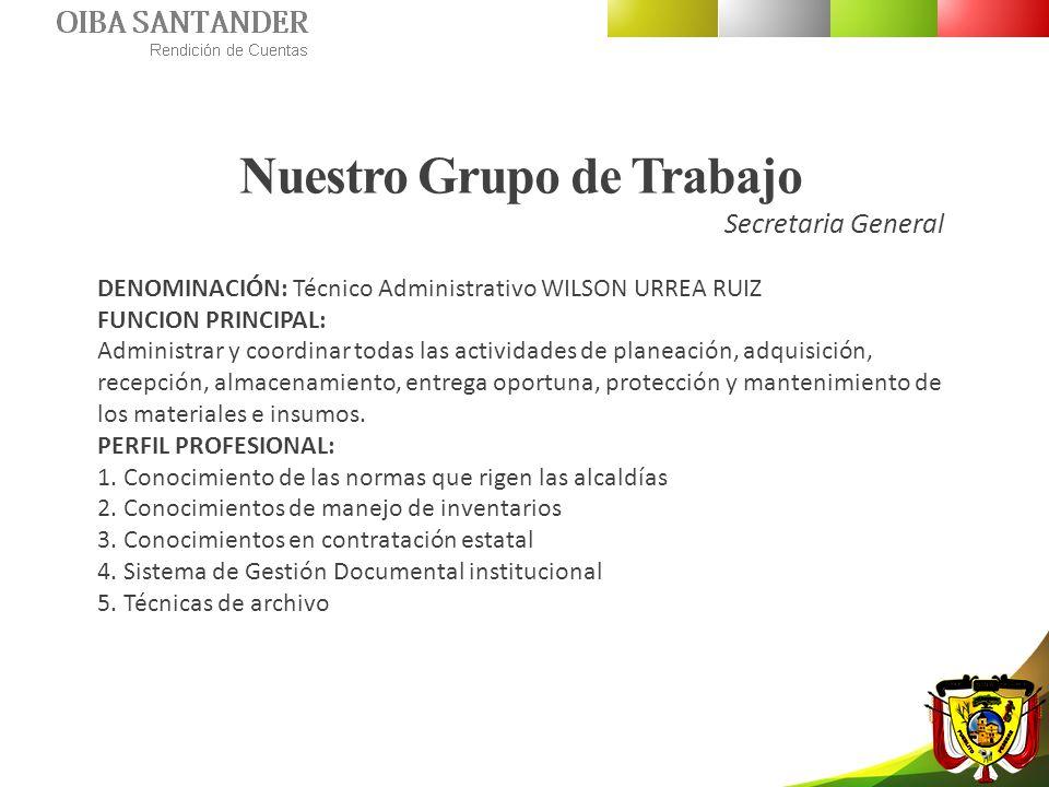 Nuestro Grupo de Trabajo Secretaria General DENOMINACIÓN: Técnico Administrativo WILSON URREA RUIZ FUNCION PRINCIPAL: Administrar y coordinar todas la