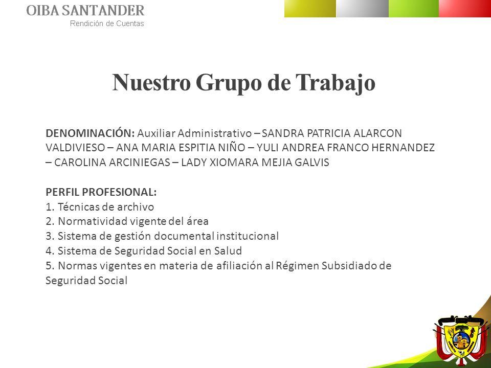Nuestro Grupo de Trabajo DENOMINACIÓN: Auxiliar Administrativo – SANDRA PATRICIA ALARCON VALDIVIESO – ANA MARIA ESPITIA NIÑO – YULI ANDREA FRANCO HERN