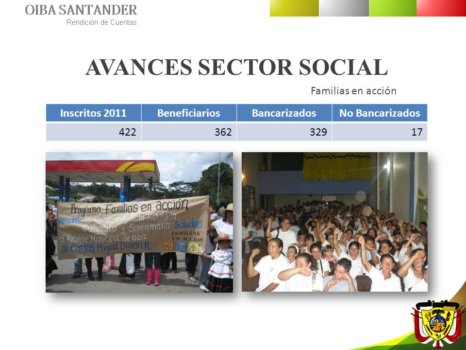 AVANCES SECTOR SOCIAL Familias en acción Inscritos 2011BeneficiariosBancarizadosNo Bancarizados 42236232917