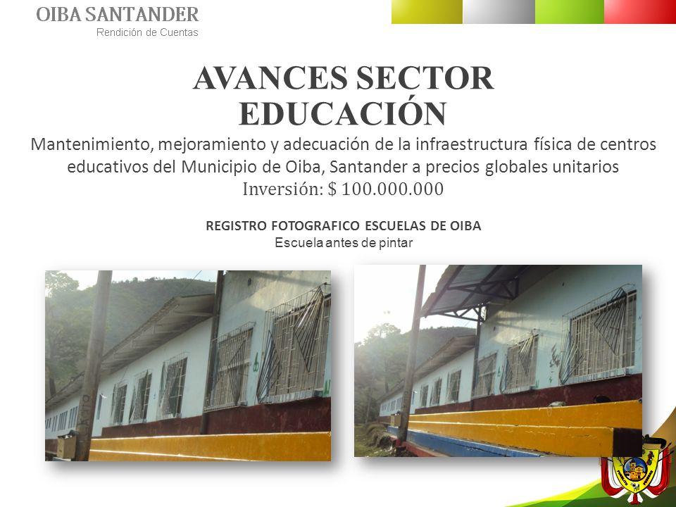 AVANCES SECTOR EDUCACIÓN Mantenimiento, mejoramiento y adecuación de la infraestructura física de centros educativos del Municipio de Oiba, Santander