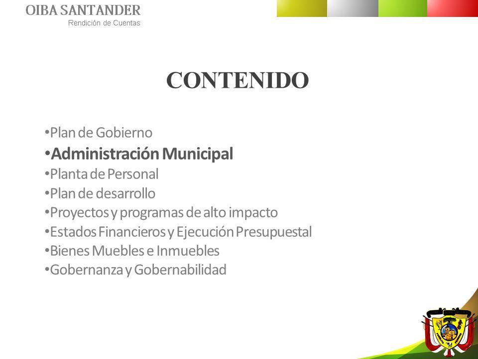 ADMINISTRACIÓN MUNICIPAL MISIÓN Nuestra intención es hacer de OIBA un municipio líder en la producción y aplicación de desarrollo social, constituyéndose en motor de progreso regional donde el desarrollo exponga su amplitud fortalecedora.