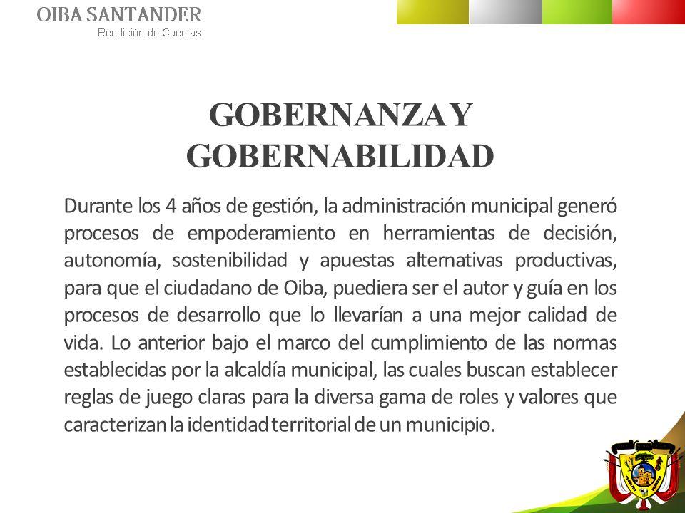 GOBERNANZA Y GOBERNABILIDAD Durante los 4 años de gestión, la administración municipal generó procesos de empoderamiento en herramientas de decisión,
