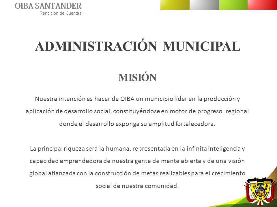 ADMINISTRACIÓN MUNICIPAL VISIÓN El municipio de OIBA será líder y garantizara el desarrollo socio – económico basado en la producción agropecuaria, minera y turística.