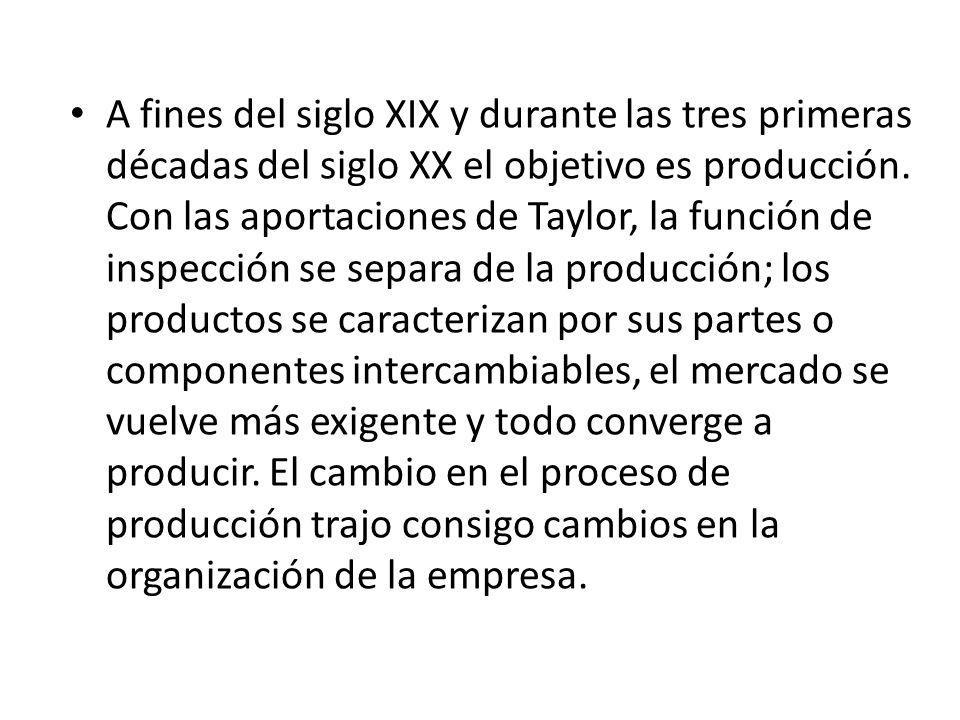 A fines del siglo XIX y durante las tres primeras décadas del siglo XX el objetivo es producción. Con las aportaciones de Taylor, la función de inspec