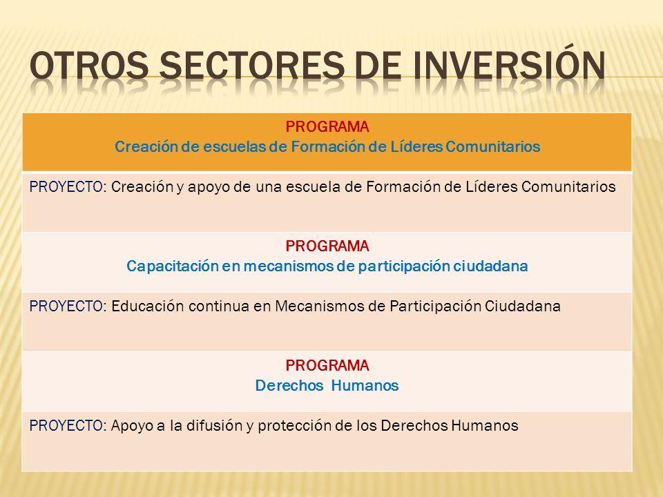 PROGRAMA Creación de escuelas de Formación de Líderes Comunitarios PROYECTO: Creación y apoyo de una escuela de Formación de Líderes Comunitarios PROG