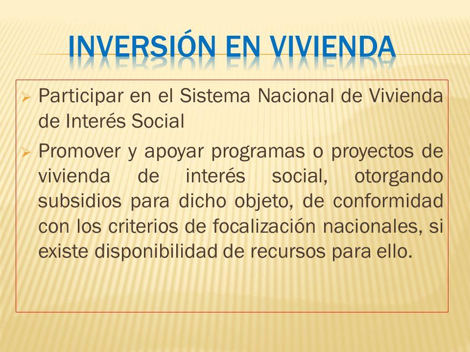 Participar en el Sistema Nacional de Vivienda de Interés Social Promover y apoyar programas o proyectos de vivienda de interés social, otorgando subsi