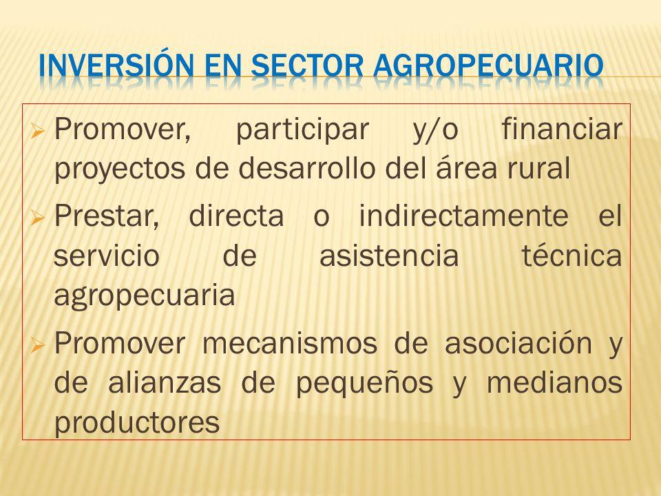 Promover, participar y/o financiar proyectos de desarrollo del área rural Prestar, directa o indirectamente el servicio de asistencia técnica agropecu