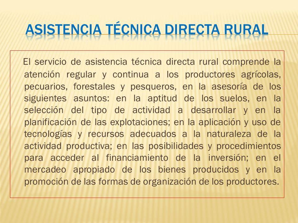 El servicio de asistencia técnica directa rural comprende la atención regular y continua a los productores agrícolas, pecuarios, forestales y pesquero