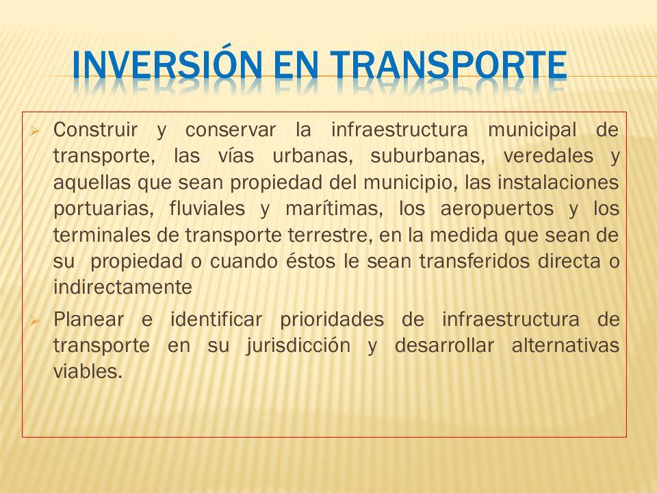 Construir y conservar la infraestructura municipal de transporte, las vías urbanas, suburbanas, veredales y aquellas que sean propiedad del municipio,