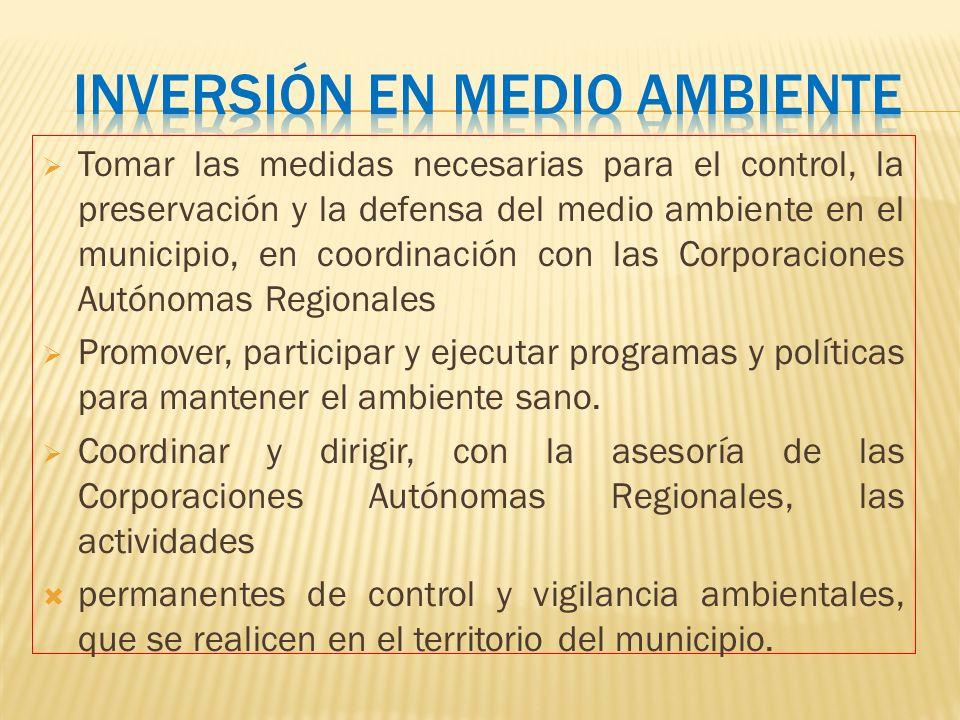 Tomar las medidas necesarias para el control, la preservación y la defensa del medio ambiente en el municipio, en coordinación con las Corporaciones A