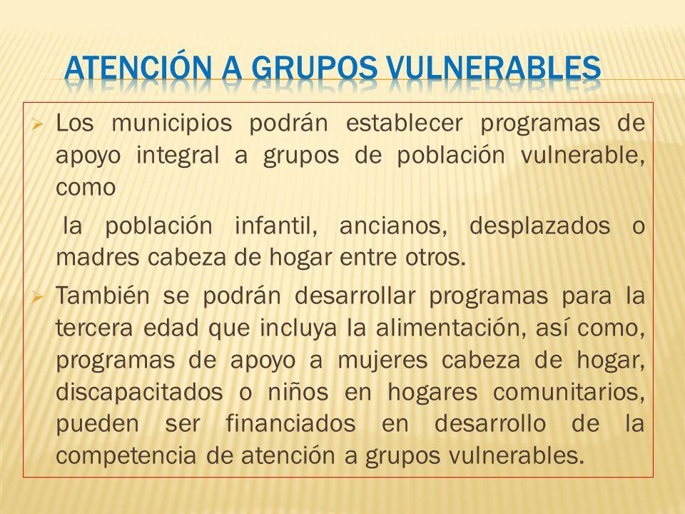 Los municipios podrán establecer programas de apoyo integral a grupos de población vulnerable, como la población infantil, ancianos, desplazados o mad