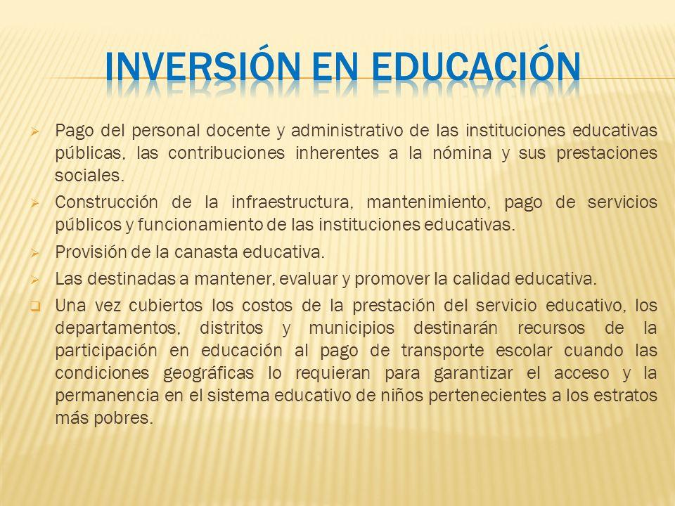 Pago del personal docente y administrativo de las instituciones educativas públicas, las contribuciones inherentes a la nómina y sus prestaciones soci
