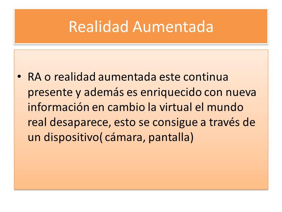 Inmersiva -Semiinmersiva REALIDAD VIRTUAL INMERSIVA Se consigue una inmersión total mediante periféricos cascos de realidad virtual, gafas, hasta el punto de desaparecer el mundo real.