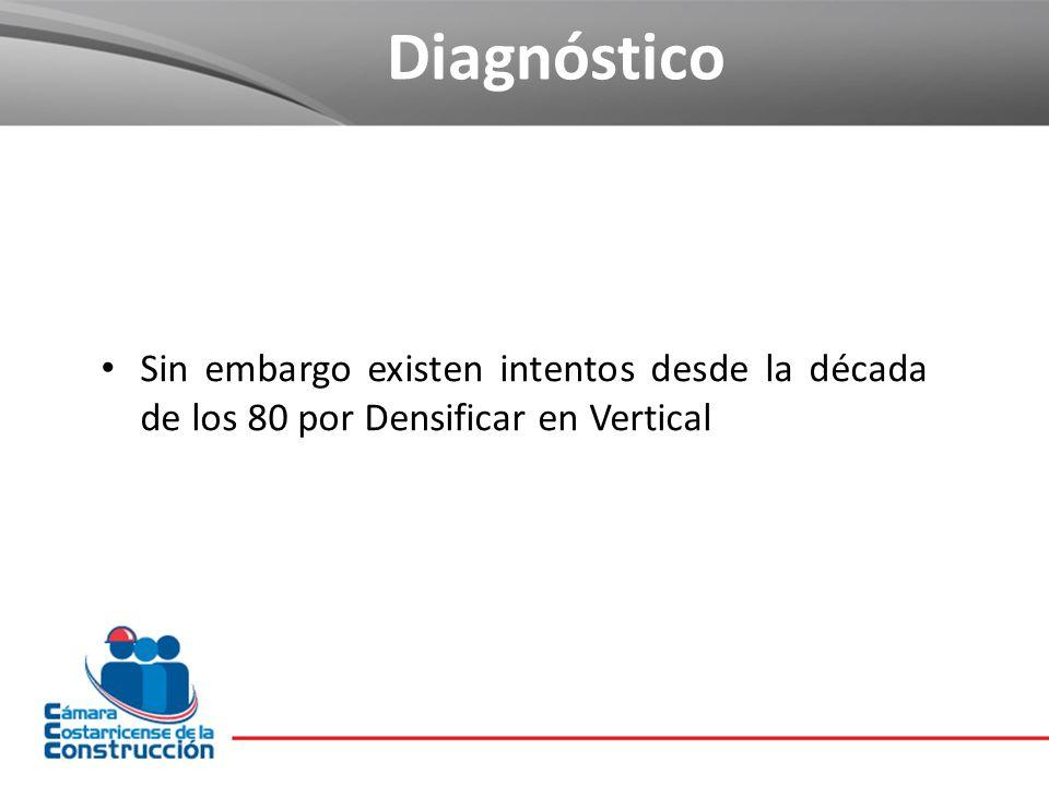 Sin embargo existen intentos desde la década de los 80 por Densificar en Vertical Diagnóstico
