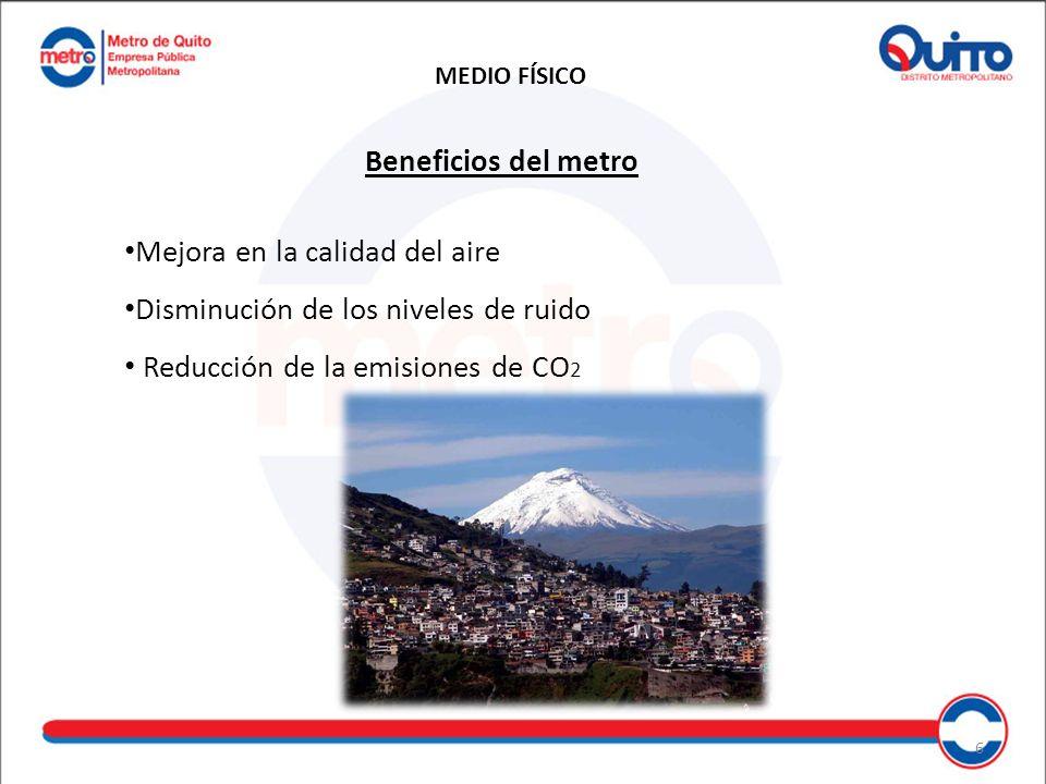Beneficios del metro Mejora en la calidad del aire Disminución de los niveles de ruido Reducción de la emisiones de CO 2 MEDIO FÍSICO 6