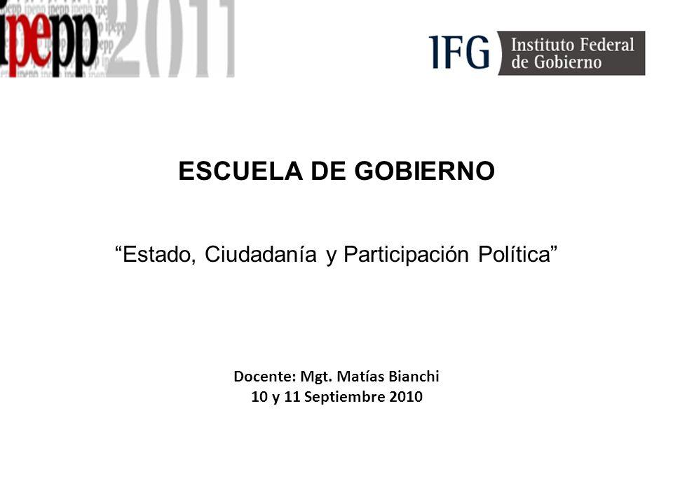 ESCUELA DE GOBIERNO Estado, Ciudadanía y Participación Política Docente: Mgt.