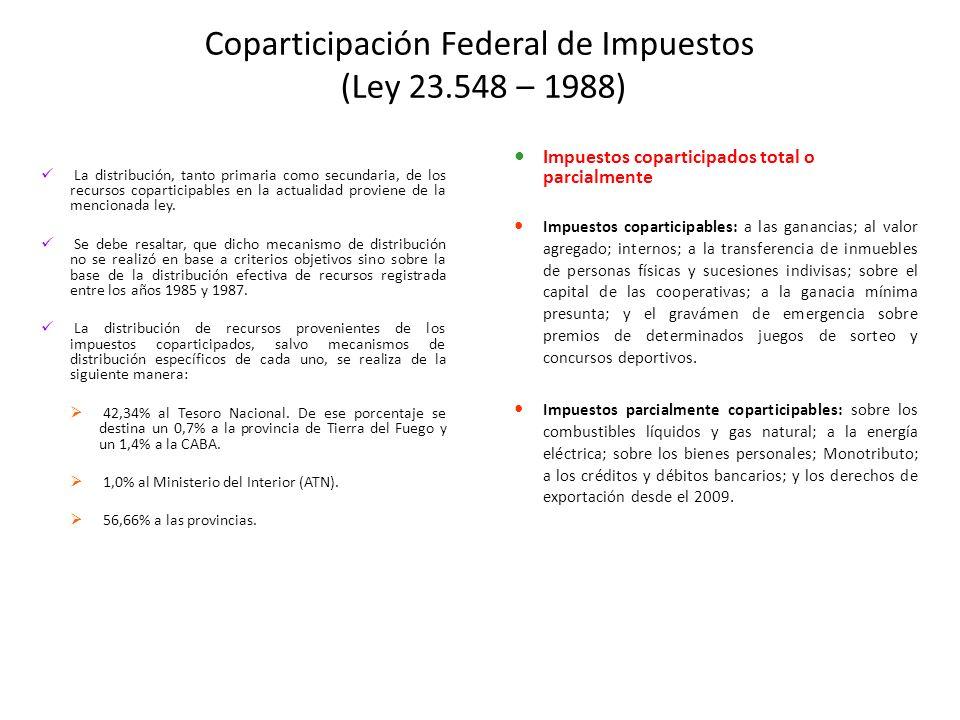 Coparticipación Federal de Impuestos (Ley 23.548 – 1988) La distribución, tanto primaria como secundaria, de los recursos coparticipables en la actualidad proviene de la mencionada ley.
