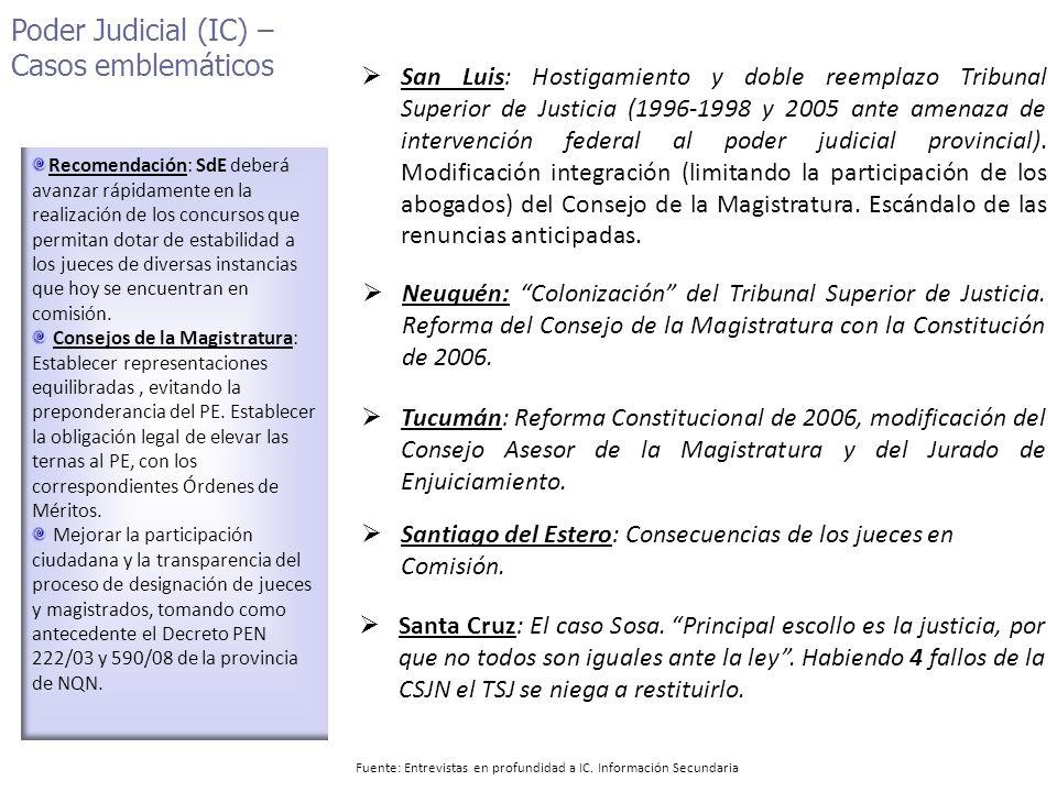 Poder Judicial (IC) – Casos emblemáticos Recomendación: SdE deberá avanzar rápidamente en la realización de los concursos que permitan dotar de estabilidad a los jueces de diversas instancias que hoy se encuentran en comisión.