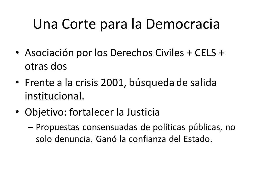 Una Corte para la Democracia Asociación por los Derechos Civiles + CELS + otras dos Frente a la crisis 2001, búsqueda de salida institucional.