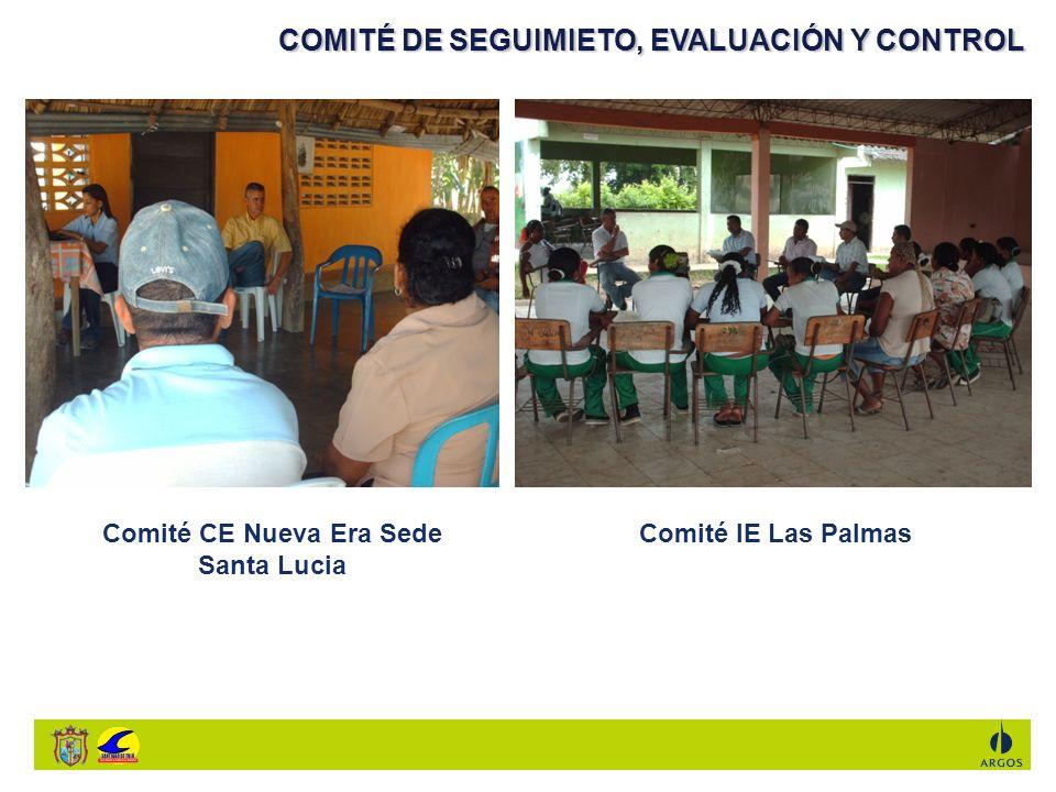 COMITÉ DE SEGUIMIETO, EVALUACIÓN Y CONTROL Comité CE Nueva Era Sede Santa Lucia Comité IE Las Palmas