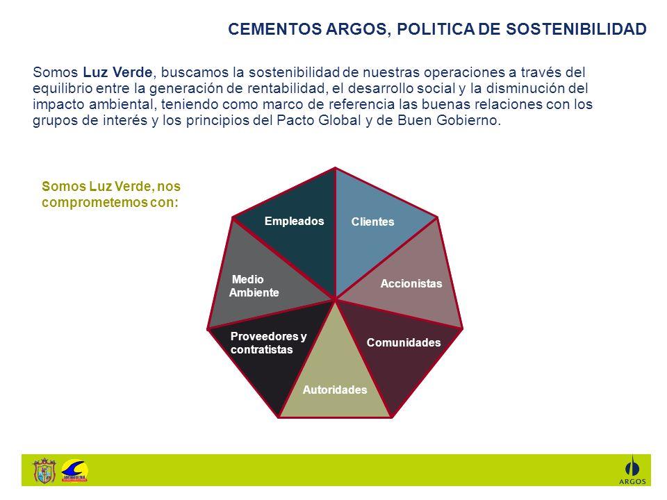 CEMENTOS ARGOS, LUZ VERDE PARA COLOMBIA La misión de la Fundación Argos es contribuir al desarrollo social de las comunidades que viven cerca de nuestros centros productivos, de la mano de entidades públicas y privadas que trabajan en las distintas regiones.