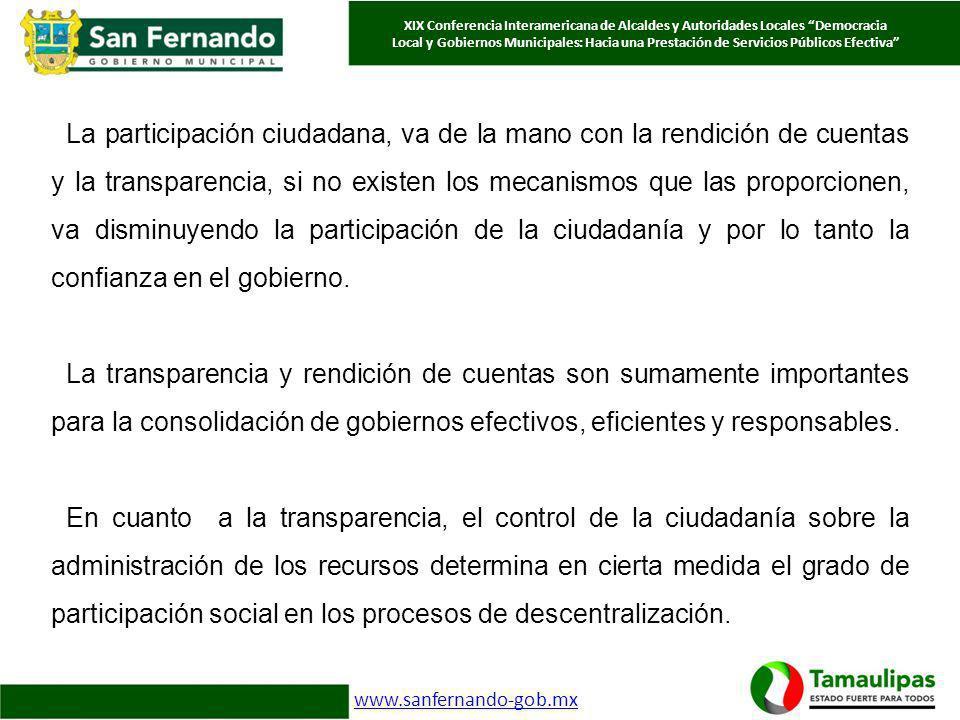 XIX Conferencia Interamericana de Alcaldes y Autoridades Locales Democracia Local y Gobiernos Municipales: Hacia una Prestación de Servicios Públicos