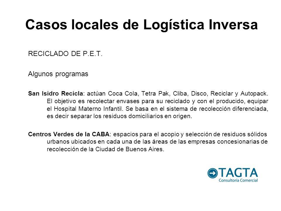 RECICLADO DE P.E.T. Algunos programas San Isidro Recicla: actúan Coca Cola, Tetra Pak, Cliba, Disco, Reciclar y Autopack. El objetivo es recolectar en