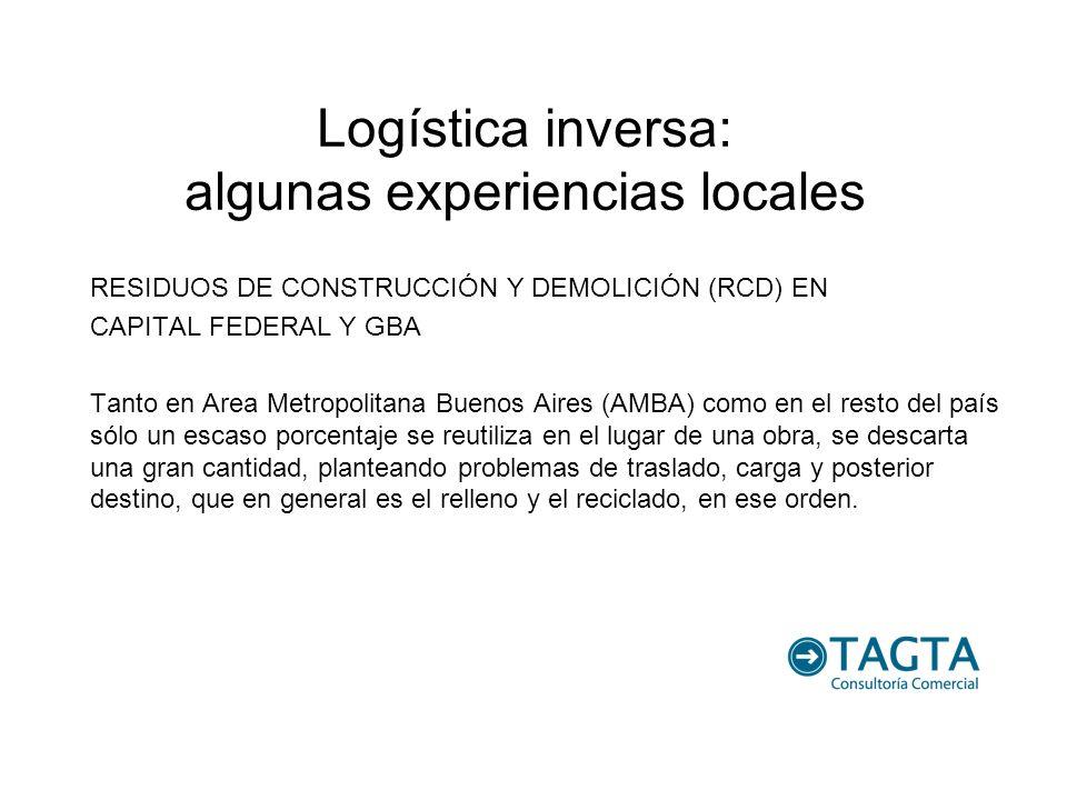 Logística inversa: algunas experiencias locales RESIDUOS DE CONSTRUCCIÓN Y DEMOLICIÓN (RCD) EN CAPITAL FEDERAL Y GBA Tanto en Area Metropolitana Bueno