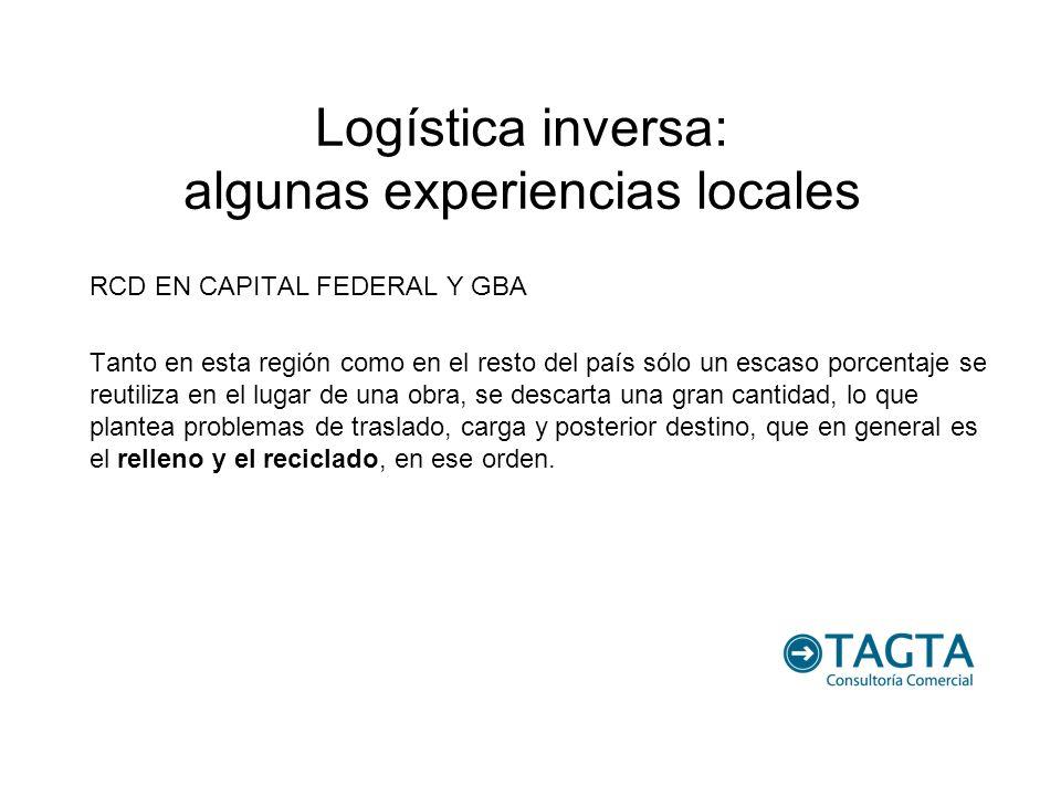 Logística inversa: algunas experiencias locales RCD EN CAPITAL FEDERAL Y GBA Tanto en esta región como en el resto del país sólo un escaso porcentaje