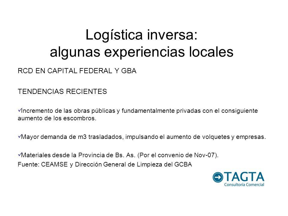 Logística inversa: algunas experiencias locales RCD EN CAPITAL FEDERAL Y GBA TENDENCIAS RECIENTES Incremento de las obras públicas y fundamentalmente