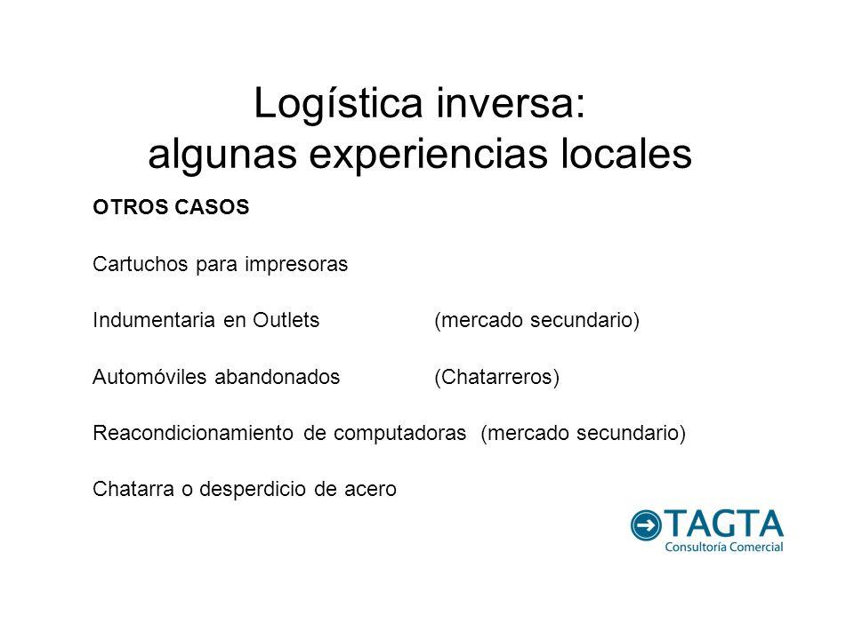 Logística inversa: algunas experiencias locales OTROS CASOS Cartuchos para impresoras Indumentaria en Outlets(mercado secundario) Automóviles abandona