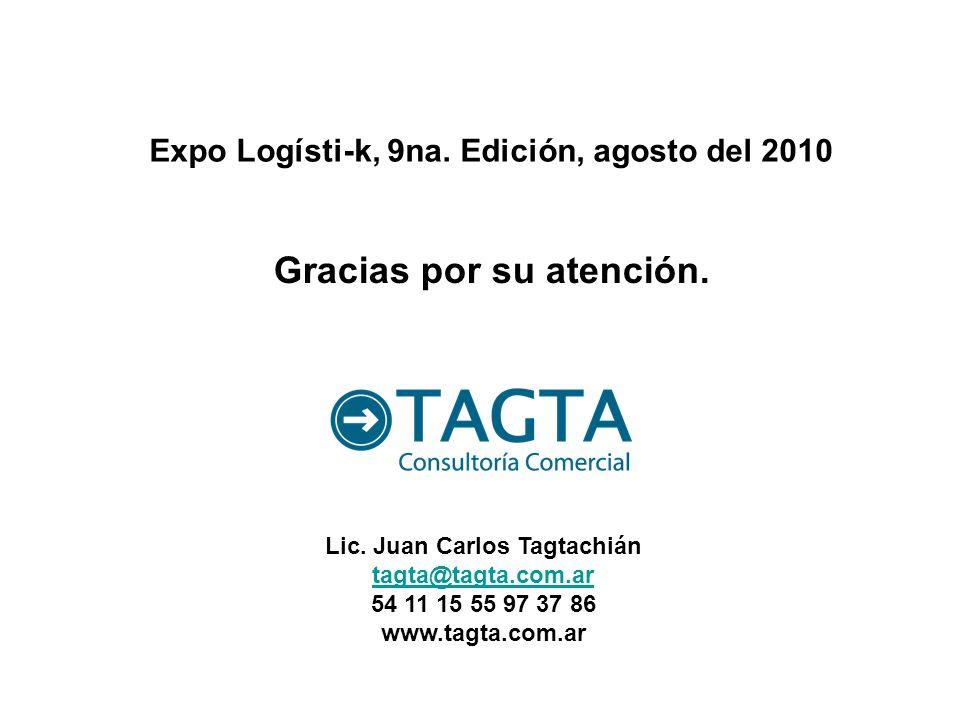 Gracias por su atención. Expo Logísti-k, 9na. Edición, agosto del 2010 Lic. Juan Carlos Tagtachián tagta@tagta.com.ar 54 11 15 55 97 37 86 www.tagta.c