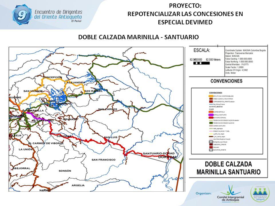 PROYECTO: REPOTENCIALIZAR LAS CONCESIONES EN ESPECIAL DEVIMED DOBLE CALZADA MARINILLA - SANTUARIO