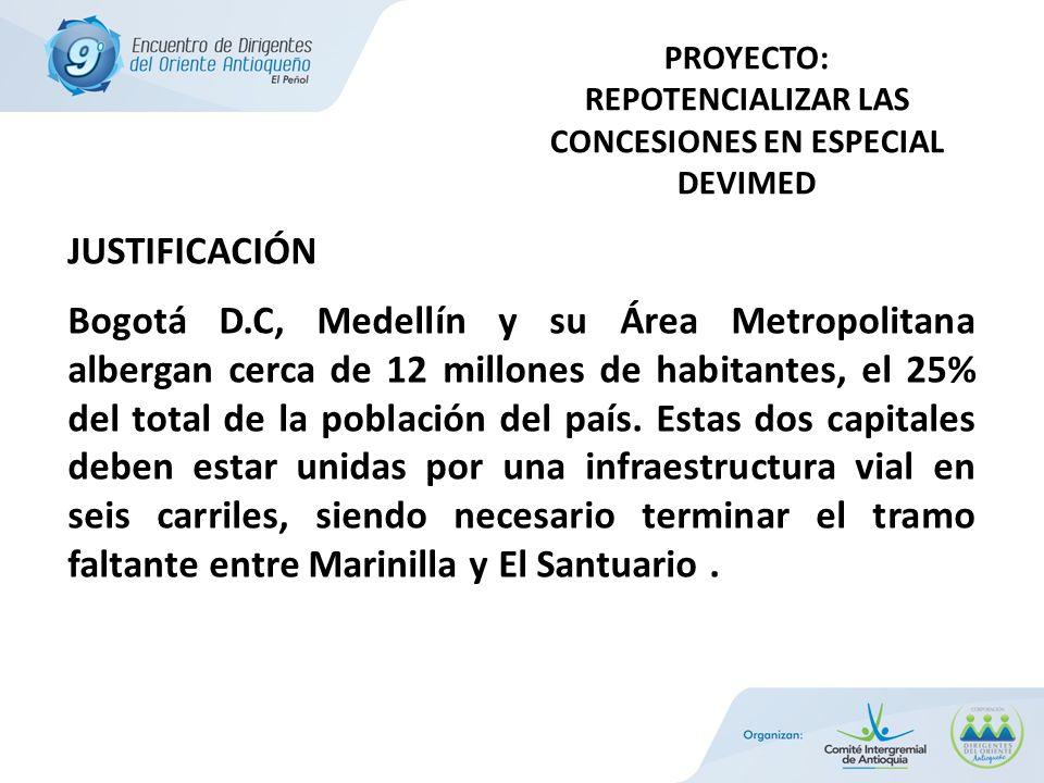 JUSTIFICACIÓN Bogotá D.C, Medellín y su Área Metropolitana albergan cerca de 12 millones de habitantes, el 25% del total de la población del país.