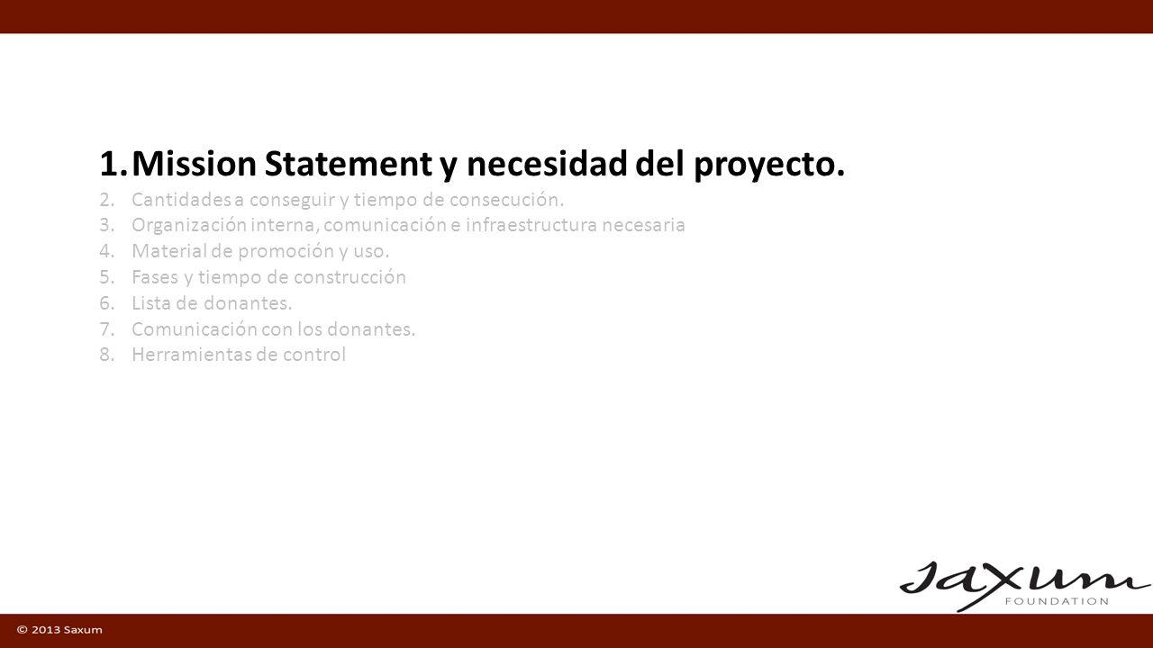 1.Mission Statement y necesidad del proyecto. 2.Cantidades a conseguir y tiempo de consecución.